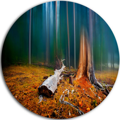 Design Art Blue Forest on Foggy Morning LandscapeRound Circle Metal Wall Art