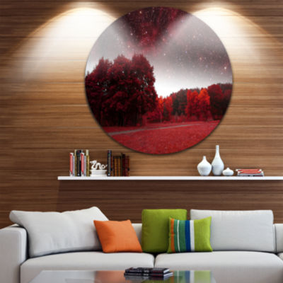 Design Art Mystical Red Spring Night Landscape Round Circle Metal Wall Art