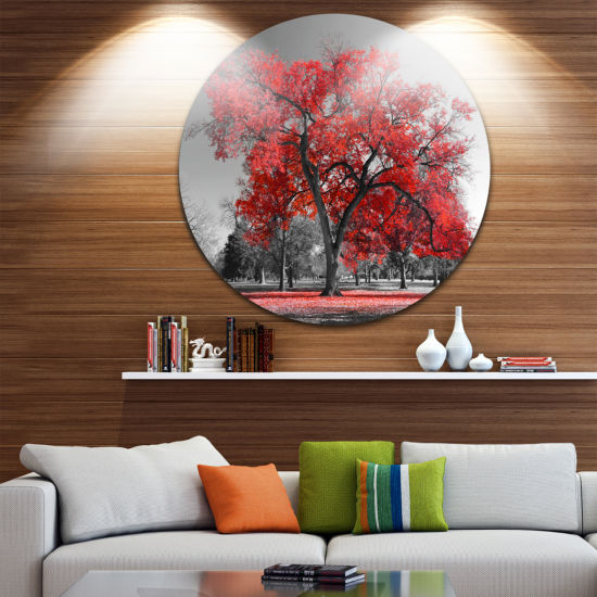 Design Art Big Red Tree on Foggy Day Landscape Round Circle Metal Wall Art