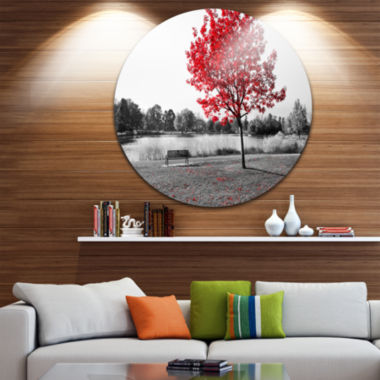 Design Art Red Tree over Park Bench Landscape Round Circle Metal Wall Art