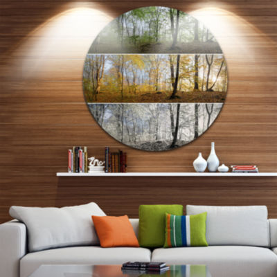 Design Art Three Seasons Forest Panorama LandscapeRound Circle Metal Wall Art