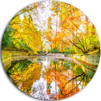 Design Art Bright Fall Forest with River LandscapeRound Circle Metal Wall Art