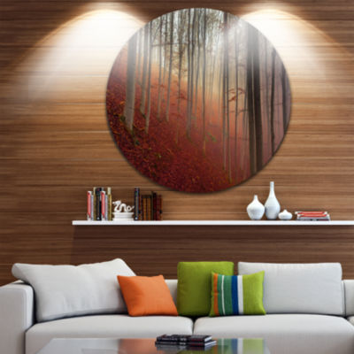 Design Art Foggy Day in Enchanted Forest LandscapeRound Circle Metal Wall Art