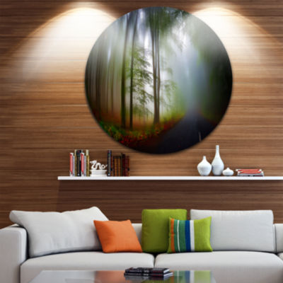 Design Art Fall Landscape in the Forest LandscapeRound Circle Metal Wall Art