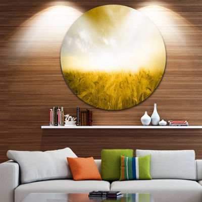 Design Art Yellow Meadow under Bright Sun Landscape Round Circle Metal Wall Art
