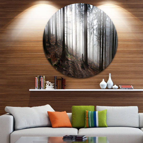 Design Art Misty Forest Morning Panorama LandscapeRound Circle Metal Wall Art