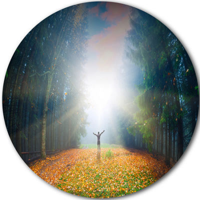 Design Art Men and Bright Sunlight Panorama Landscape Round Circle Metal Wall Art