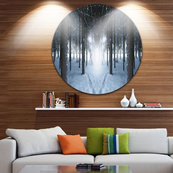 Design Art Winter Forest with Dark Woods LandscapeRound Circle Metal Wall Art
