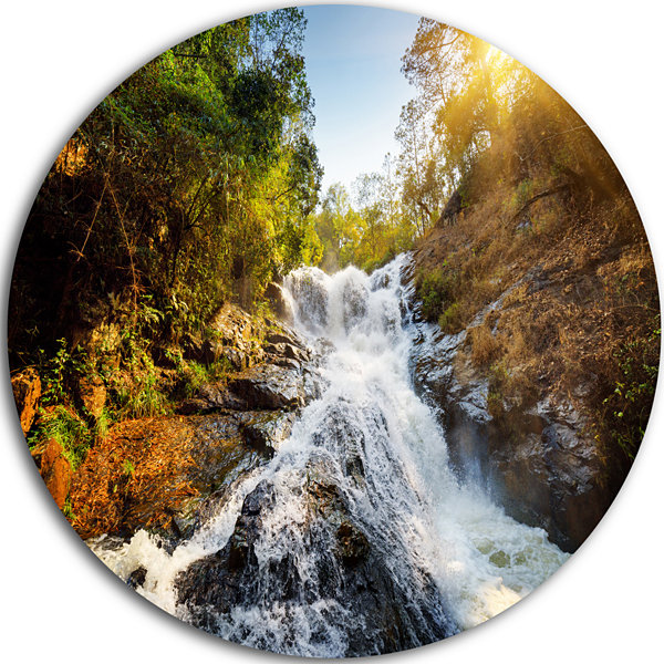 Design Art Waterfall through the Forest LandscapeRound Circle Metal Wall Art