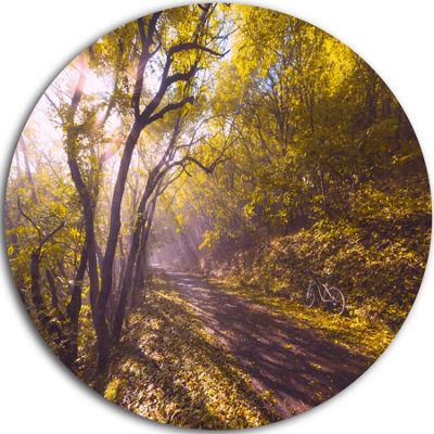 Design Art Bicycle Ride in Fall Forest Landscape Round Circle Metal Wall Art