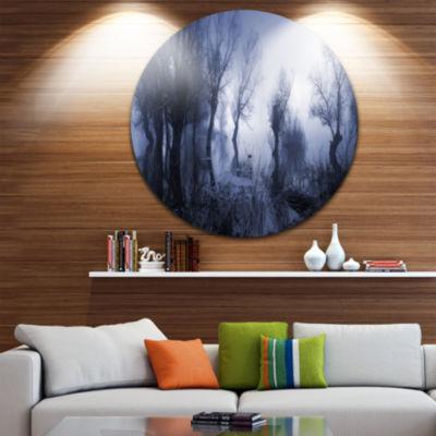 Design Art Creepy Landscape in Sepia Tones Landscape Round Circle Metal Wall Art