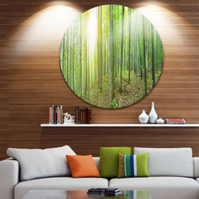 Design Art Thick Green Forest Panorama Landscape Round Circle Metal Wall Art