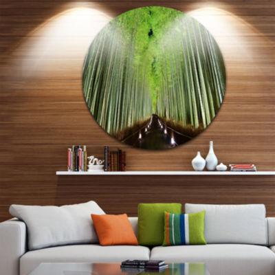 Design Art Beautiful Bamboo Forest Panorama Landscape Round Circle Metal Wall Art