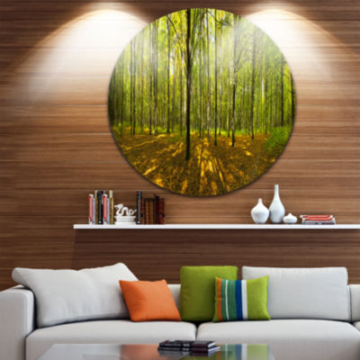 Design Art Green Autumn Forest Panorama LandscapeRound Circle Metal Wall Art
