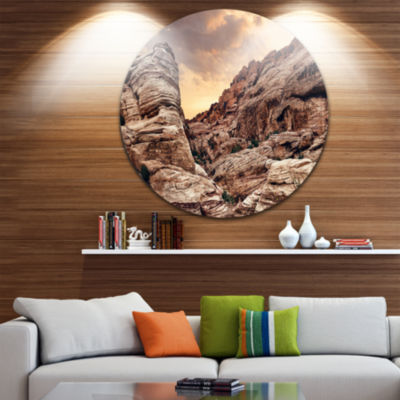 Design Art Scenic Red Rock Canyon in Nevada Landscape Round Circle Metal Wall Art