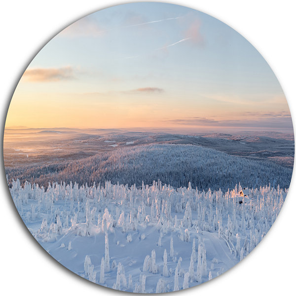Design Art Winter Landscape in Lapland Landscape Round Circle Metal Wall Art