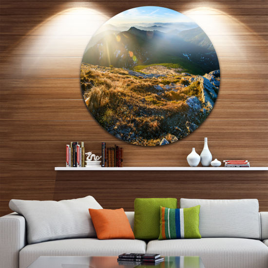 Design Art Mountains Glowing in Sunlight LandscapeRound Circle Metal Wall Art