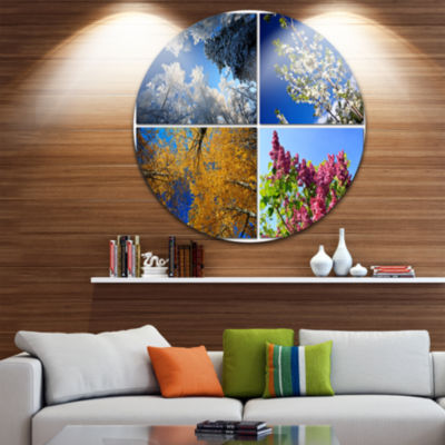 Design Art Four Seasons of Nature Collage Landscape Round Circle Metal Wall Art