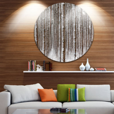 Design Art Dense Pine Forest in Winter Landscape Round Circle Metal Wall Art