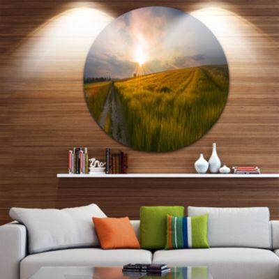 Design Art Sunset in Field of Grain Panorama Landscape Round Circle Metal Wall Art