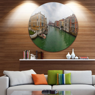 Design Art Green Waters in Venice Grand Canal Landscape Round Circle Metal Wall Art