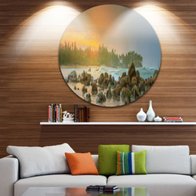 Design Art Untouched Tropical Beach Panorama Landscape Round Circle Metal Wall Art