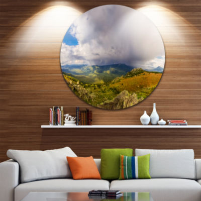 Design Art Stormy Sky with Clouds Panorama Landscape Round Circle Metal Wall Art