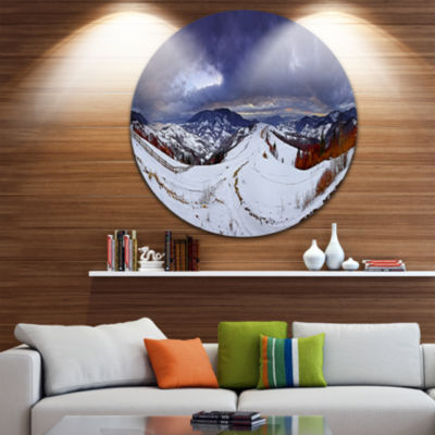 Design Art Frosty Day in Mountains Panorama Landscape Round Circle Metal Wall Art