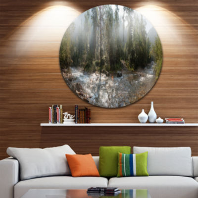 Design Art Mountain River Panorama Landscape RoundCircle Metal Wall Art