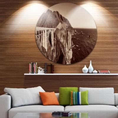 Design Art Bixby Bridge View Panorama Landscape Round Circle Metal Wall Art