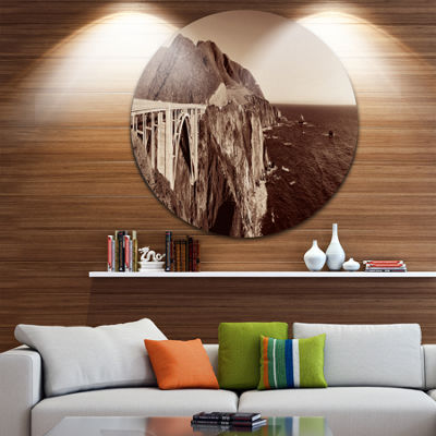 Design Art Bixby Bridge View Panorama Landscape Round Circle Metal Wall Art