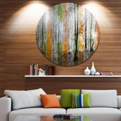 Design Art Wood Panorama Changing Seasons Landscape Round Circle Metal Wall Art