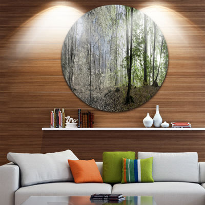 Design Art Green Morning in Forest Panorama Landscape Round Circle Metal Wall Art
