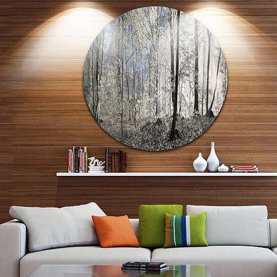 Design Art Dark Morning in Forest Panorama Landscape Round Circle Metal Wall Art