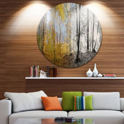 Design Art Yellow Morning in Forest Panorama Landscape Round Circle Metal Wall Art