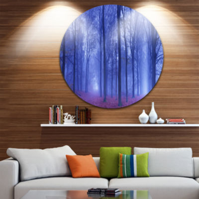 Design Art Two Paths in Foggy Blue Forest Landscape Round Circle Metal Wall Art