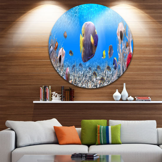 Design Art Underwater Universe Panorama LandscapeRound Circle Metal Wall Art
