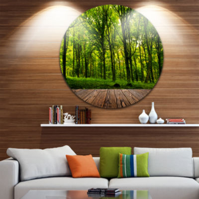 Design Art Green Forest with Dense Woods LandscapeRound Circle Metal Wall Art