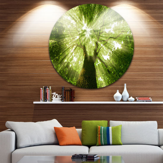 Design Art Sunlight Peeking through Green Tree Landscape Round Circle Metal Wall Art
