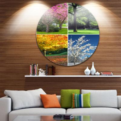 Design Art Four Seasons Trees Collage Landscape Round Circle Metal Wall Art