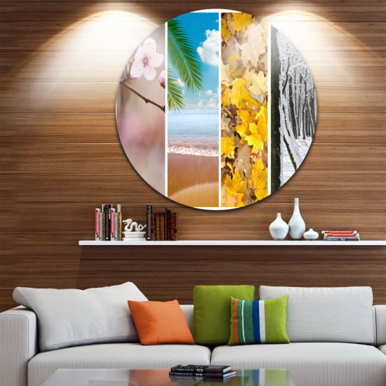 Design Art Four Seasons World Collage Landscape Round Circle Metal Wall Art