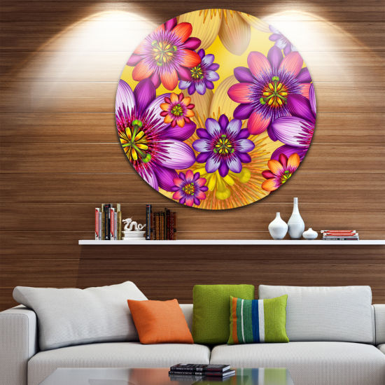 Design Art Passion Flowers Pattern Floral Round Circle Metal Wall Art