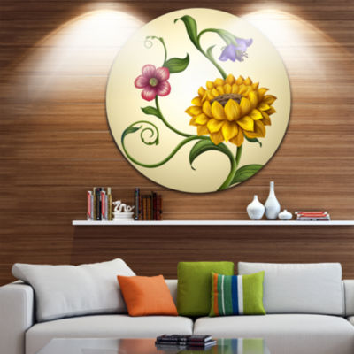 Design Art Flowers and Leaves Illustration FloralRound Circle Metal Wall Art