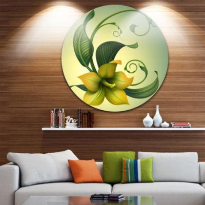 Design Art Yellow Fantasy Flower Floral Round Circle Metal Wall Art