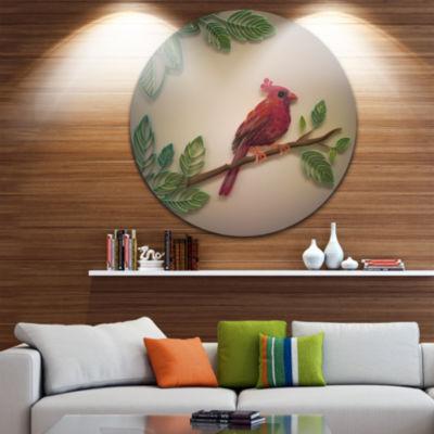 Design Art Red Paper Quilling of Cardinal Bird Floral Round Circle Metal Wall Art