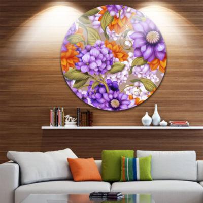Design Art Floral Seamless Pattern Floral Round Circle Metal Wall Art
