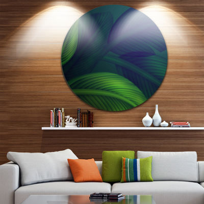 Design Art Tropic Jungle Leaves Background FloralRound Circle Metal Wall Art