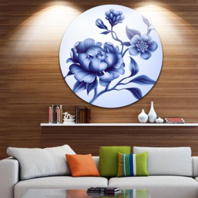 Design Art Blue Peony Rose and Sakura Flowers Floral Round Circle Metal Wall Art