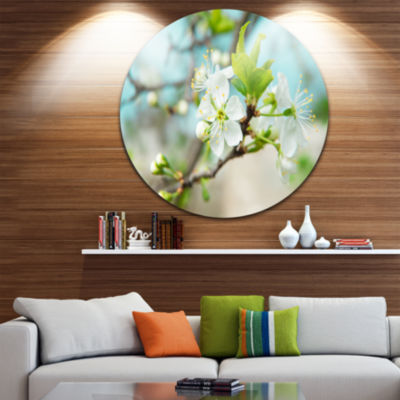 Design Art Beautiful Cherry Blossom n Spring Floral Round Circle Metal Wall Art