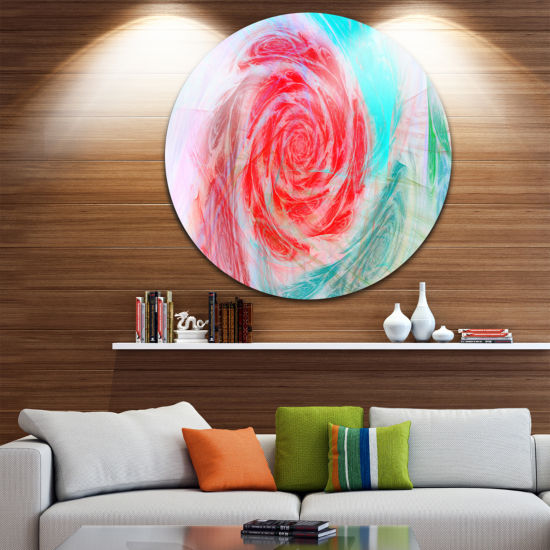 Design Art Mysterious Abstract Rose Floral Round Circle Metal Wall Art
